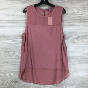 Vince Camuto Pink Mixed Media Crew Neck Tank Top